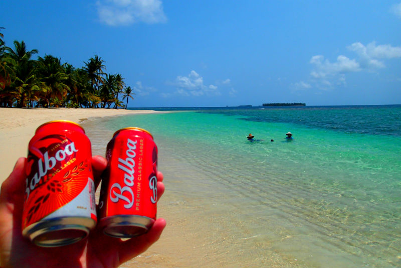 cold beers in san blas guna yala tropical sea kayaking panama